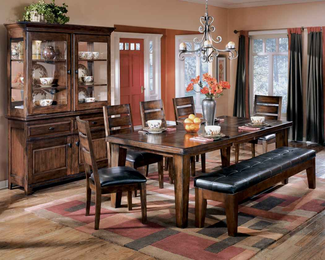 ashley d442 09 larchmont extra large upholstered dining