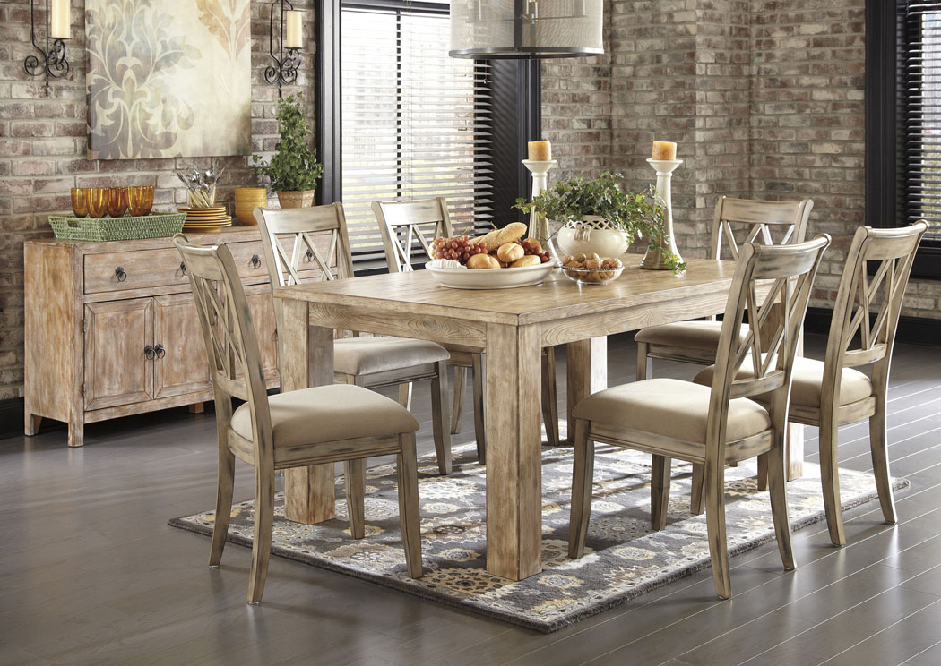 piece rectangular dining room table set with antique white side chairs