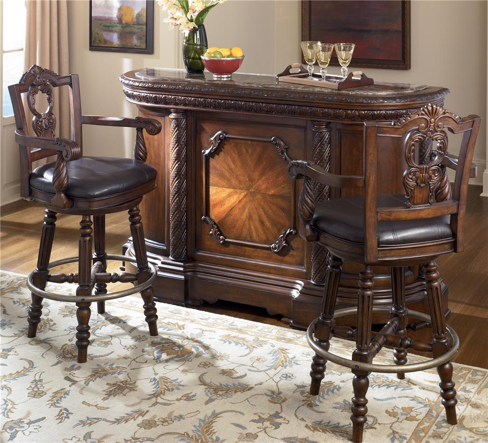 ashley d553 65 north shore bar with marble top