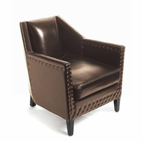 Brown Leather Deco Lounge Chair with Nailheads