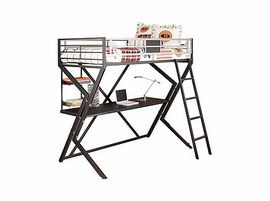 Dinsmore Black/Silver Metal Twin Loft Bed w/ Desk