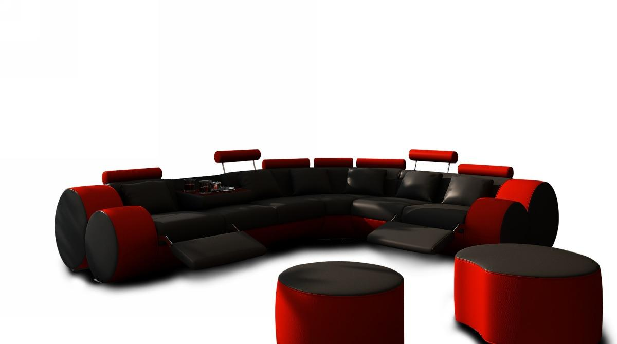 Divani Casa 3087 Modern Black And Red Leather Sectional Sofa amp Ottoman