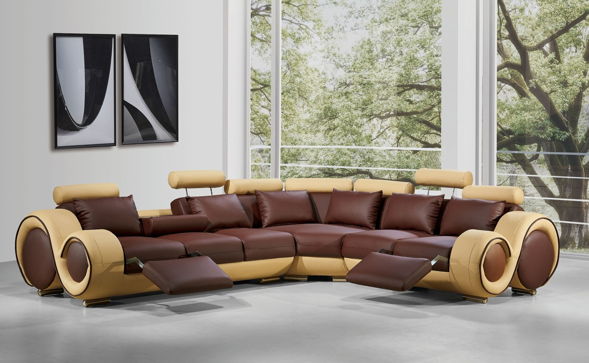 Divani Casa 4087 - Modern genuine Leather Sectional Sofa