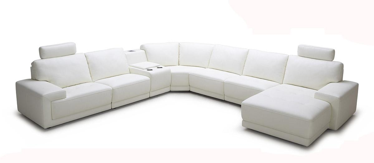 Divani Casa Cypress - Modern White Eco-Leather Sectional Sofa with ...