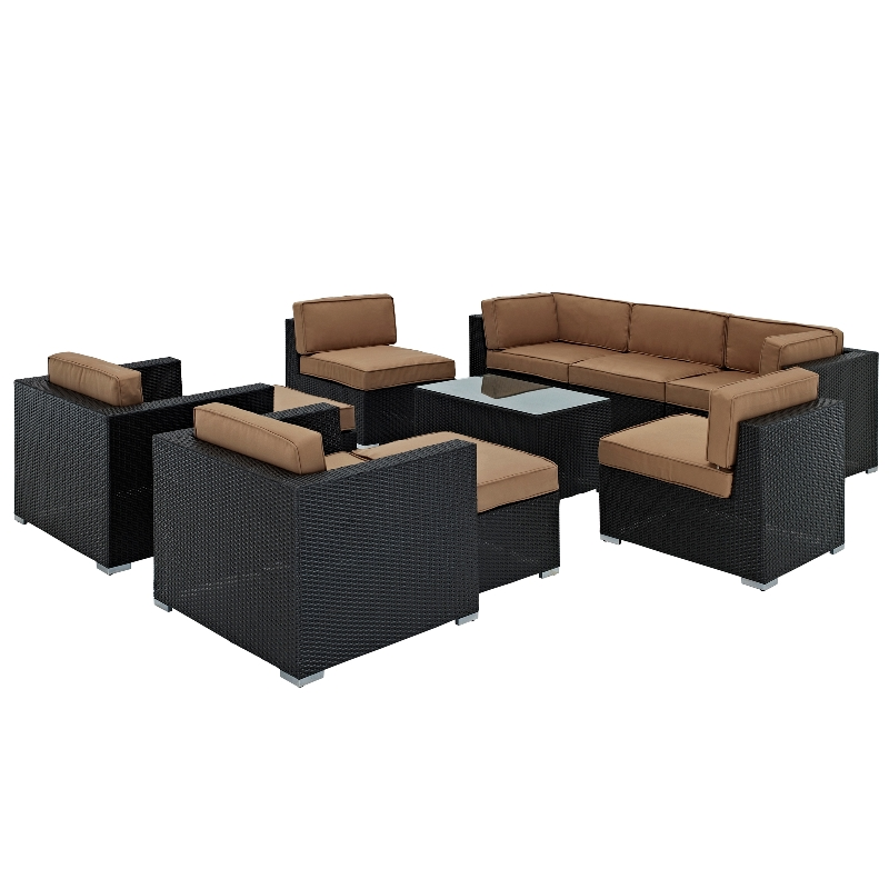 Modway Furniture Avia Outdoor Wicker Patio 10 Piece Sectional Sofa Set