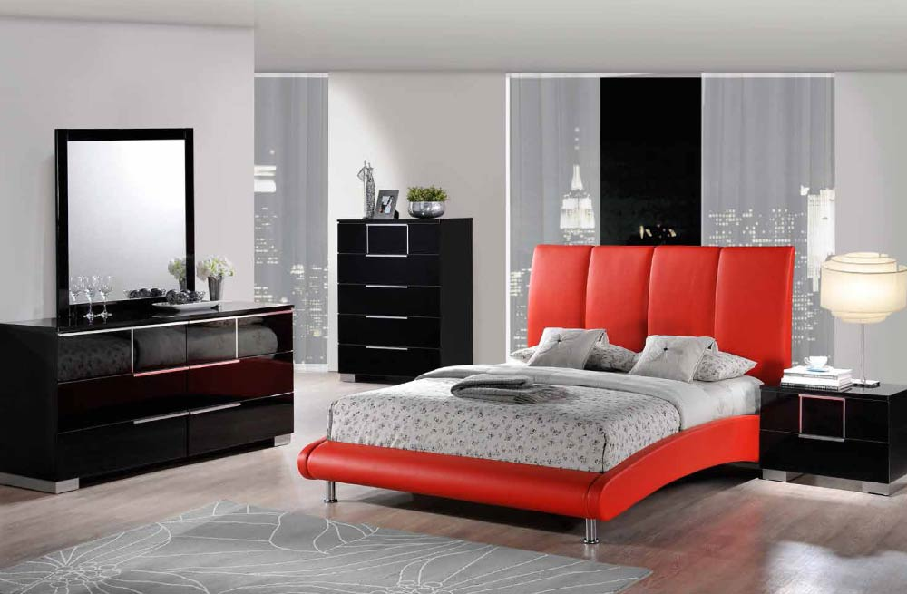 Global Furniture 8272 R HAILEY Red Hailey Bedroom Set