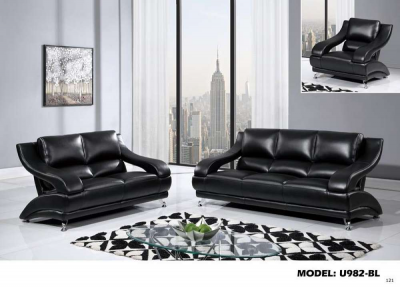 GLOBAL FURNITURE BLACK BONDED LEATHER LOVE SEAT U982