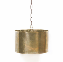 Large Antique Brass Drum Fixture