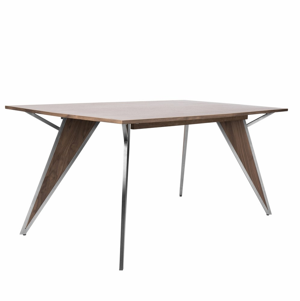 Tetra Contemporary Dining Table In Walnut Wood And Stainless Steel