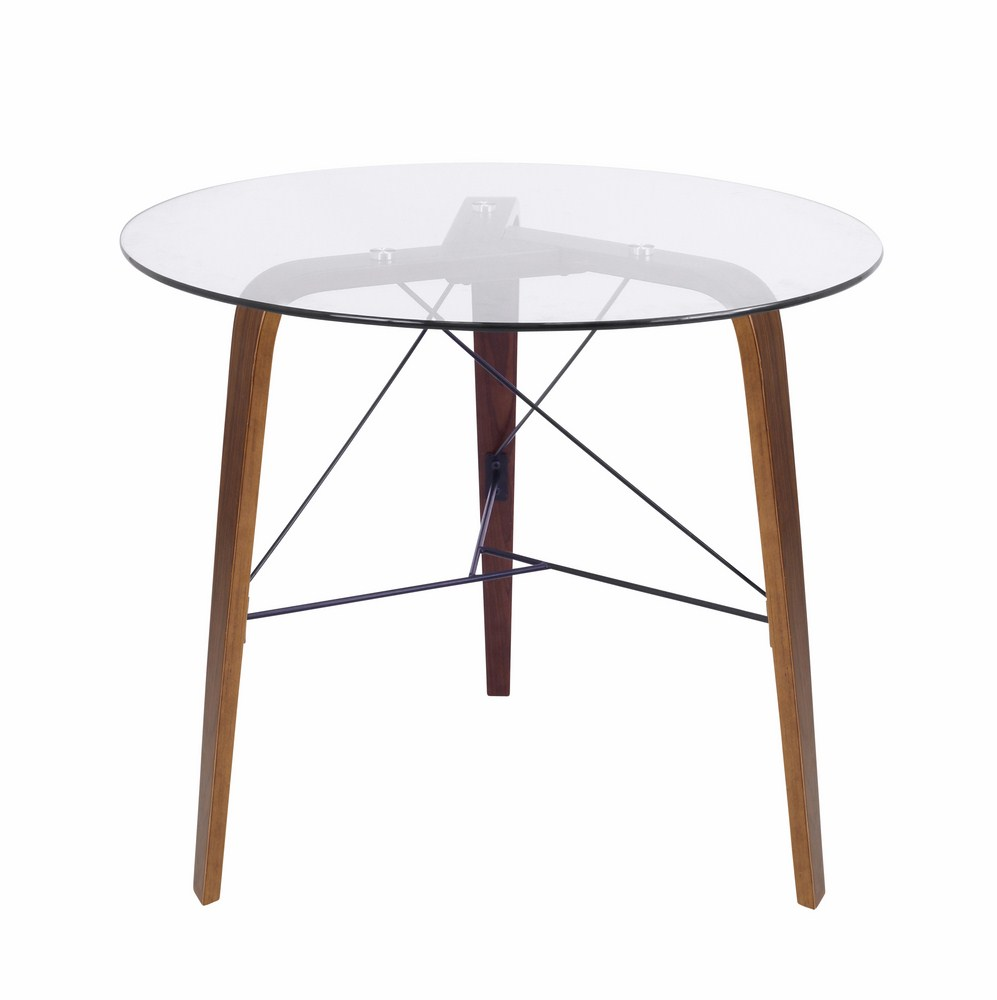LumiSource Trilogy Contemporary Dining Table In Walnut Wood And Glass