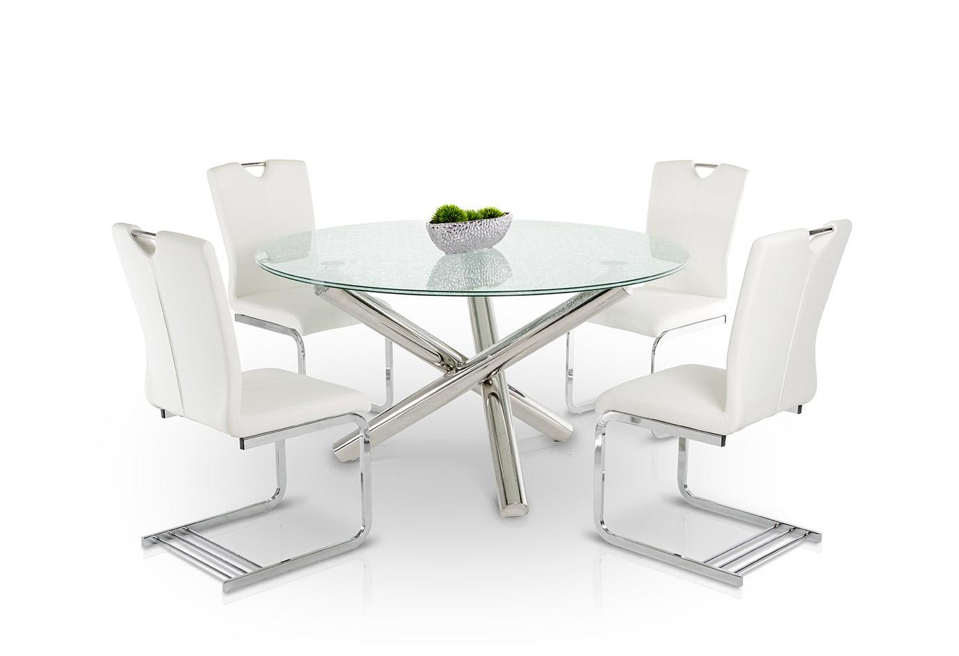 Modern Dining Modrest Frau Modern Round Cracked Glass Dining Table