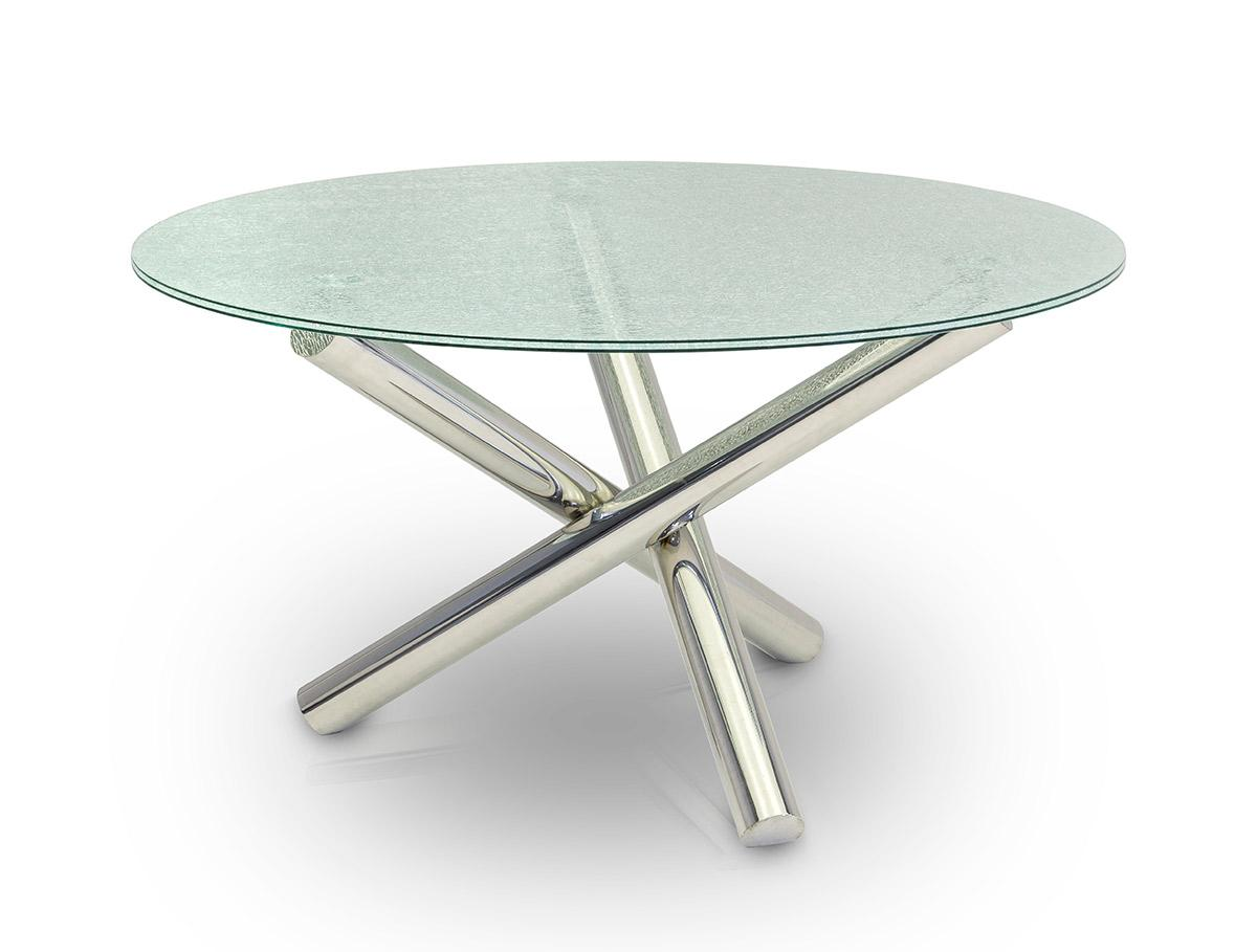 Glass Dining Table Modrest Frau Modern Round Cracked Glass Dining