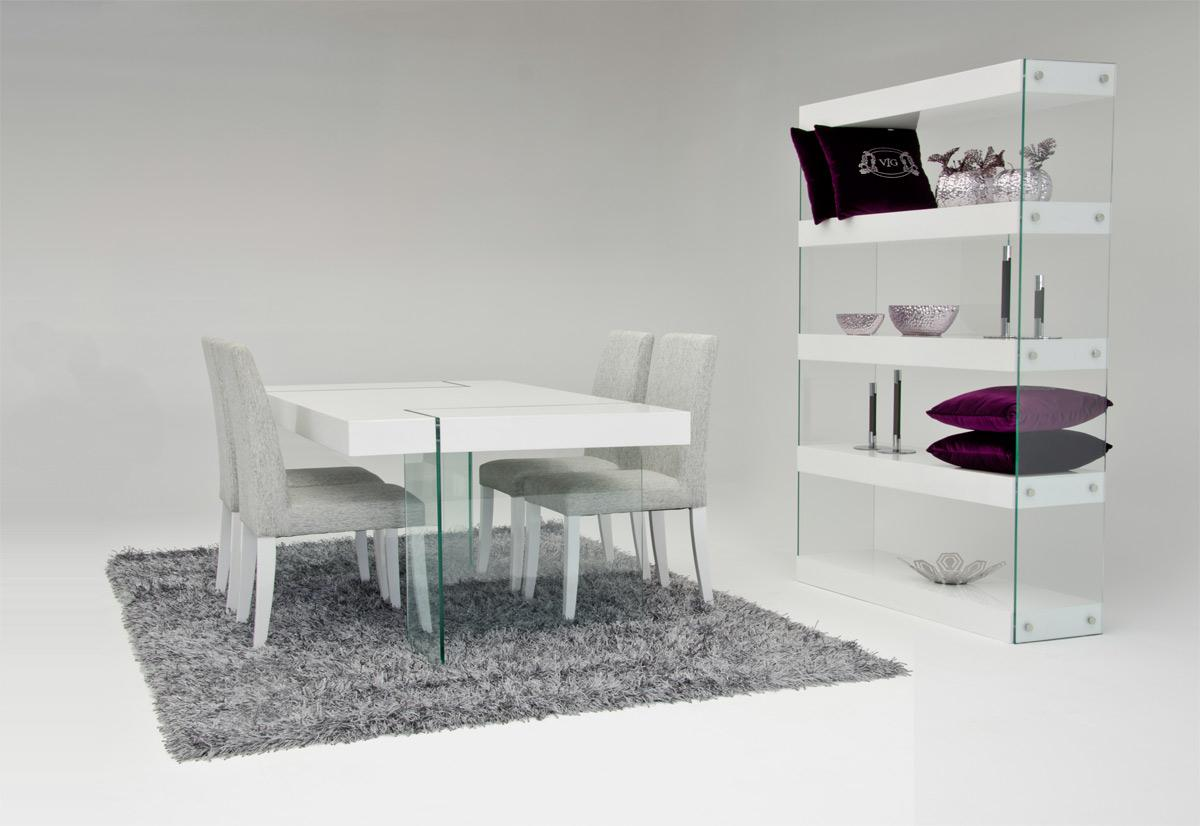 White Dining Table And Chairs In Glossy Look Contemporary White Dining ...