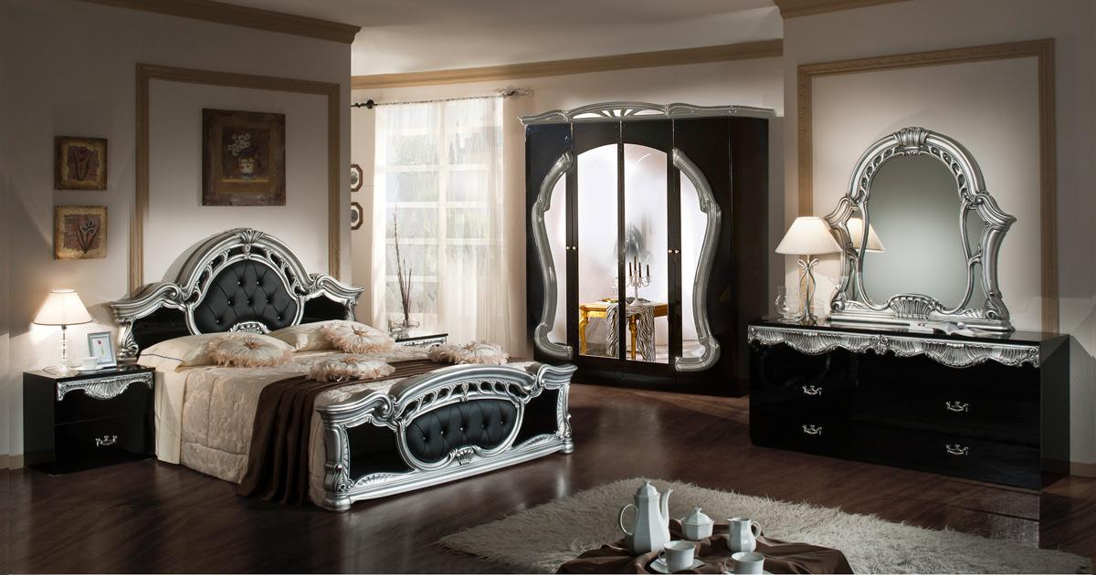 bedroom modrest rococco italian classic black silver bedroom set