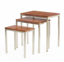 Set of Three Nickel and Wood Nesting Tables
