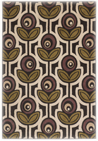 Thistle - Black Contemporary Black/Ivory/Green/Purple Rug