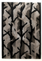 Winter Woods - Ebony Contemporary Black/Silver Rug