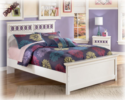 Zayley Replicated White Paint Full Panel Bed