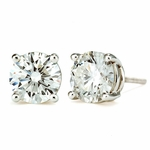 1.25 Carat Each Round Diamond Quality Cubic Zirconia Stud Earrings