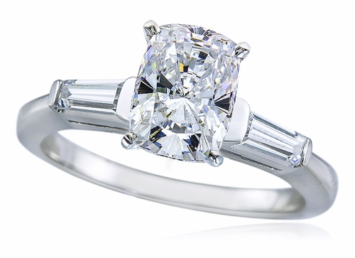 1 5 Carat Elongated Cushion Cut Cubic Zirconia Baguette Solitaire Engagement
