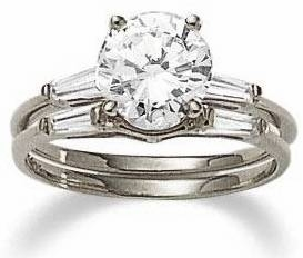 1 5 Carat Round Cubic Zirconia Baguette Solitaire With