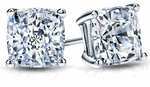 1.5 ct. Each Cushion Cut Studs Featuring Ziamond Cubic Zirconia
