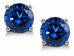 1 Carat Each Round Man Made Lab Created Synthetic Sapphire Stud Earrings