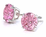 1 Carat Each Round Pink Diamond Look Cubic Zirconia Stud Earrings