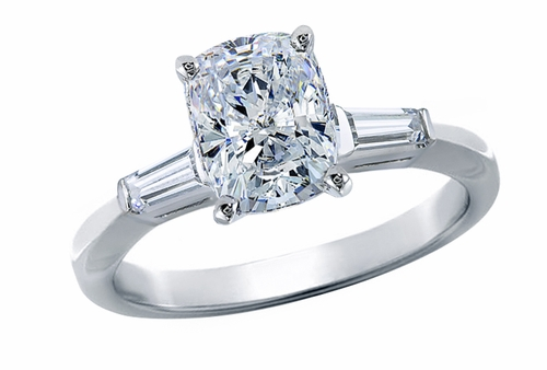 1 Carat Elongated Cushion Cut Cubic Zirconia Baguette Solitaire Engagement Ring