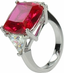10 carats Cushion Cut with Trillions Ring Featuring Ziamond Cubic Zirconia
