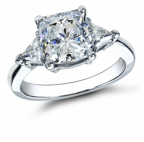 2 5 Carat Cushion Cut with Trillions Cubic Zirconia Three Stone Ring