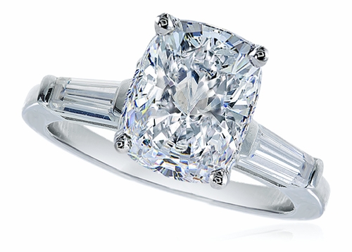 2 5 Carat Elongated Cushion Cut Cubic Zirconia Baguette Solitaire Engagement