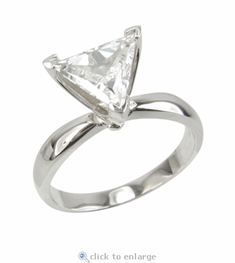 3.5 Carat Triangle Trillion Cut Cubic Zirconia Classic Solitaire Engagement Ring