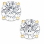 3.50 Carat Each Round Cubic Zirconia Stud Earrings