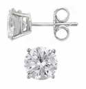 3 Carat Each Round Cubic Zirconia Platinum Stud Earrings