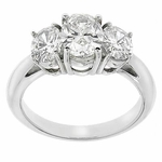 3 Stone Oval Anniversary Ring 1.5 ct. Center Featuring Ziamond Cubic Zirconia