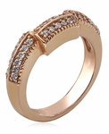 Decadence 4 Carat Cushion Cut Cubic Zirconia Rose Gold Wedding Set with Pave Contoured Band