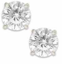 4 Carat Each Round Cubic Zirconia Stud Earrings