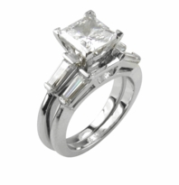 4 Carat Princess Cut Cubic Zirconia Baguette Solitaire with Matching Band Wedding Set