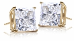 5.5 Carat Each Princess Cut Cubic Zirconia Basket Set Stud Earrings