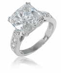5.5 Carat Winston Cathedral Cushion Cut Cubic Zirconia Bridal Set with Contoured Matching Band