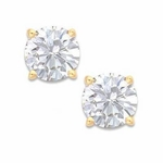 .75 Carat Each Round Cubic Zirconia Stud Earrings