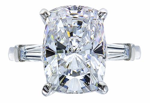 9 Carat Elongated Cushion Cut Cubic Zirconia Baguette Solitaire Engagement Ring