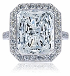 Ainsley 7 Carat Radiant Emerald Cut Bezel Set Cubic Zirconia Halo Pave Solitaire Engagement Ring