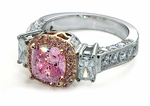 Albertine 1.5 Carat Pink Cubic Zirconia Halo Cushion Cut Round Emerald Cut Ring