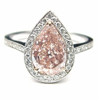 Angelika 5 Carat Simulated Pink Pear Cubic Zirconia Pave Halo Solitaire Engagement Ring