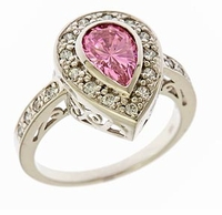 Arless 2 Carat Lab Created Pink Bezel Set Pear Cubic Zirconia Halo Engagement Ring