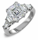 Asscher Cut Cubic Zirconia Solitaire Engagement Rings and Wedding Bands