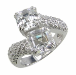 Asscher Duo Asscher Cut Cubic Zirconia Pave Set Round Solitaire Engagement Ring