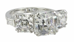 Symphony Asscher Cut Cubic Zirconia Three Stone Engagement Ring